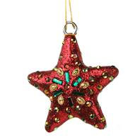 Handcrafted Hanging Christmas Decoration, Red and Green Star