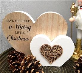 Merry Little Christmas Double Heart Mantle Plaque