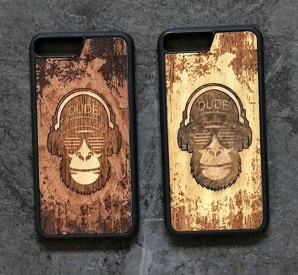 Real Wood Engraved Phone Cover - Cool Dude