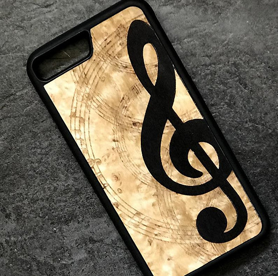 Real Wood Marquetry Phone Cover - Music Note