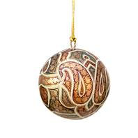 Hand Painted Christmas Baubles - Paisley Green, Gold & Red