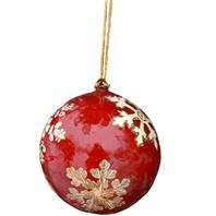 Hand Painted Christmas Baubles - Red & Gold