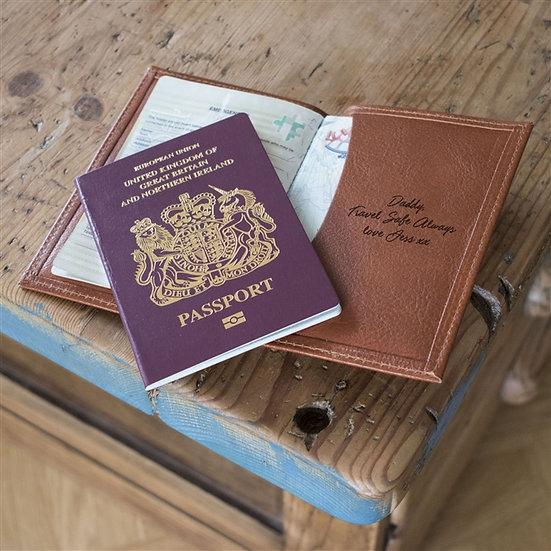 Personalised Handmade Genuine Leather Passport Cover