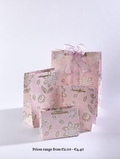 Baby Pink Handmade Dahlia Gift Bags