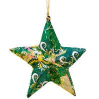 Handcrafted Hanging star, Collage green, 10cm