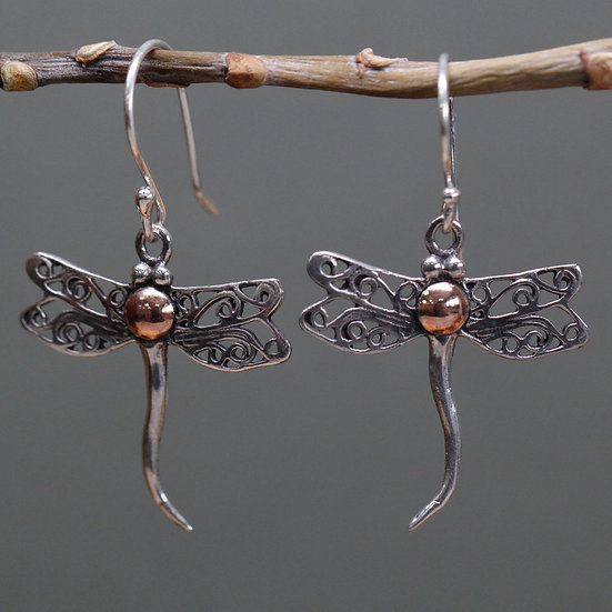 Handmade Silver & Gold Mixed Earrings Dragonfly