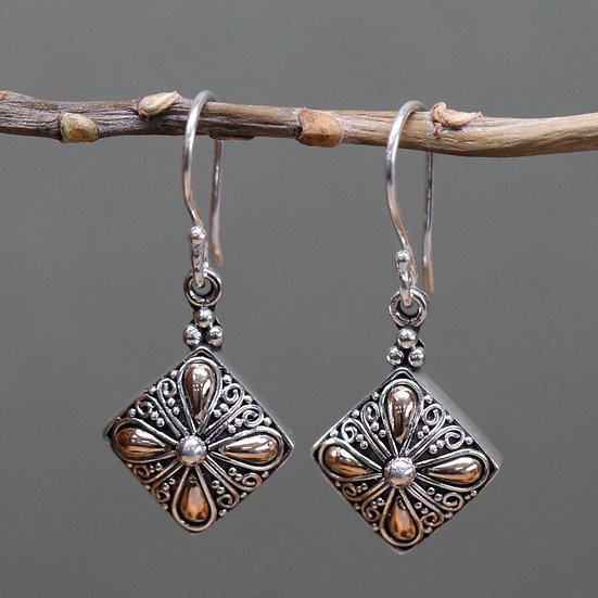 Handmade Silver & Gold Mixed Earrings Sqaure Drop