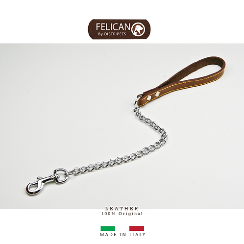 Felican Cuir Laisse cuir et chaîne