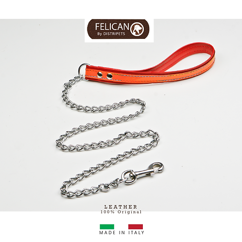 Felican Cuir Laisse + chaîne