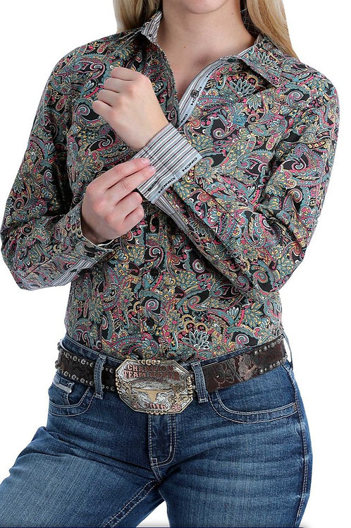 CINCH LADIES BLACK, PINK, AND GOLD PAISLEY BUTTON WESTERN SHIRT