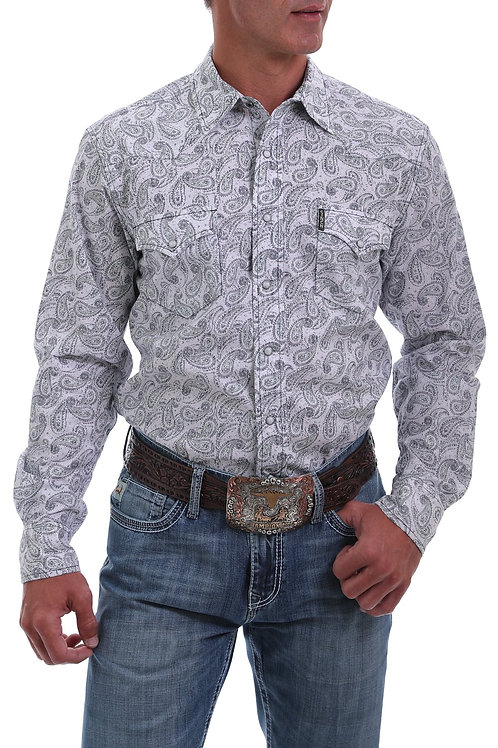 Cinch MEN'S MODERN FIT WHITE, GRAY AND GREEN PAISLEY PRINT WESTERN SNAP SHIRT