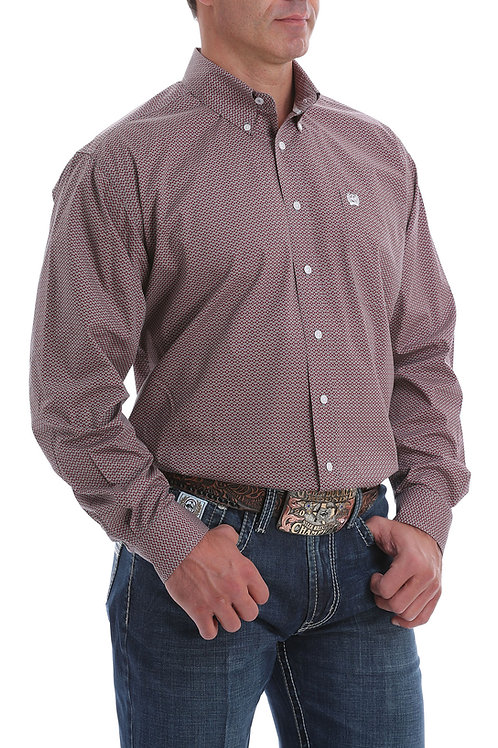 CINCH MENS BURGUNDY AND GREY PATTERN LONG SLEEVE BUTTON SHIRT