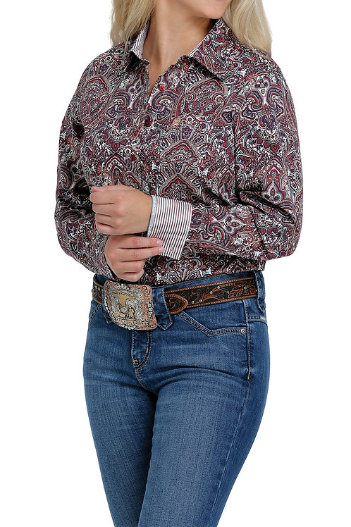 CINCH LADIES PURPLE, RED AND TEAL PAISLEY BUTTON UP SHIRT