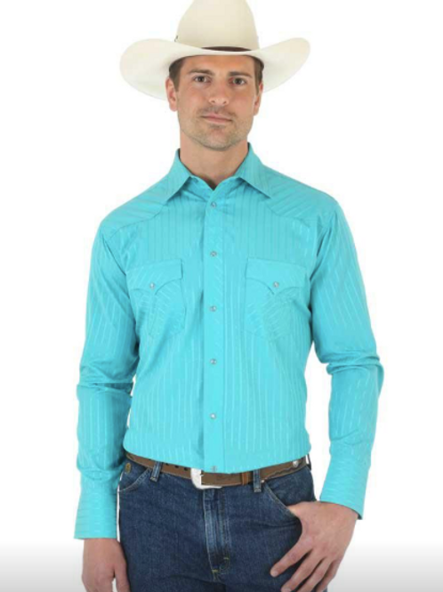 WRANGLER MEN'S LONG SLEEVE SOLID SNAP SHIRT- STYLE #75744TQ