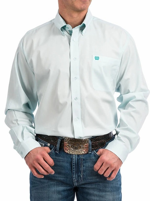 Cinch MTW1104804 aqua solid men's button up shirt