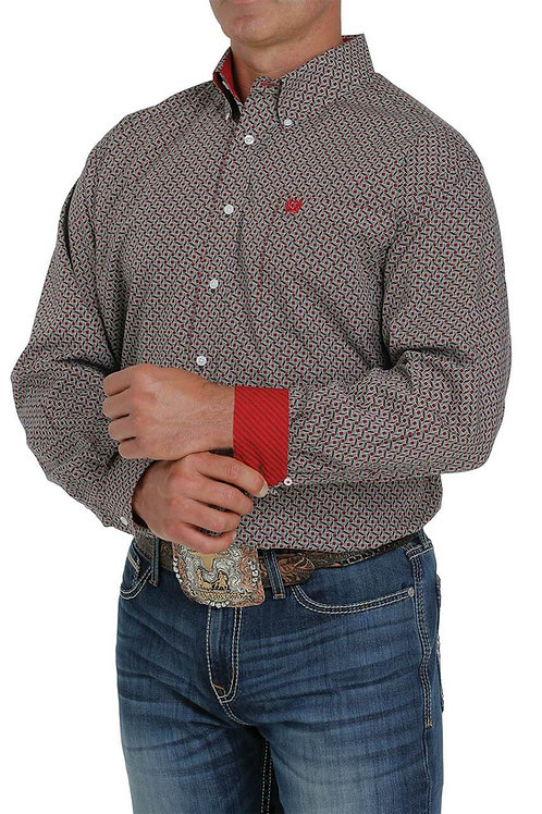 CINCH MENS RED AND BROWN PATTERN BUTTON DOWN SHIRT