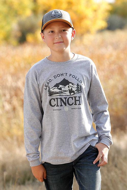 CINCH BOYS HEATHER GREY LONG SLEEVE TEE