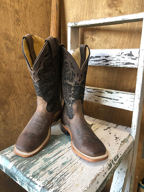 BOULET  Ladies Selvaggio Wood Barocco Calf Tabac Wide square toe boot 1135