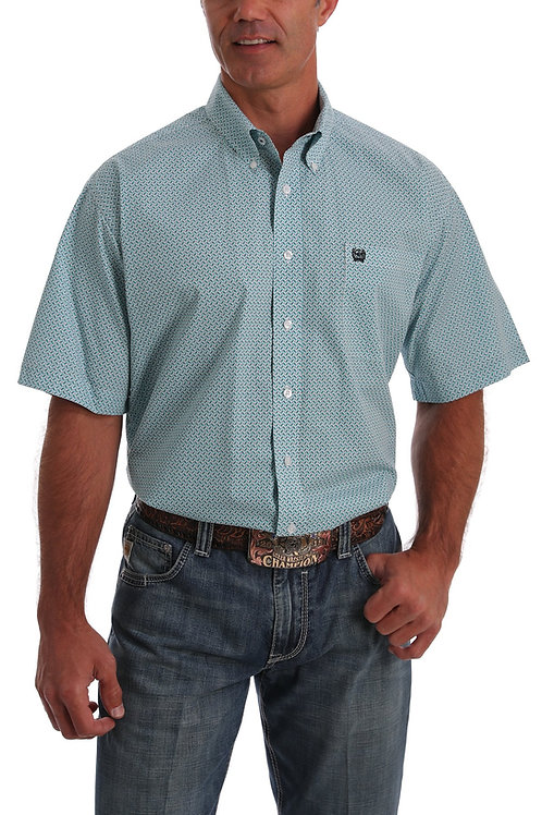 CINCH MENS SHORT SLEEVE BLUE AND WHITE BASKET WEAVE