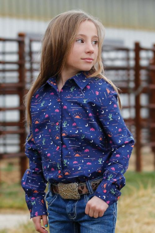 Girls Navy Desert print snap Western Shirt CTW3220020