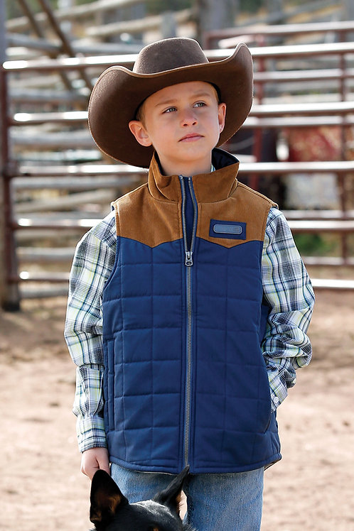 CINCH BOY'S BLUE QUILTED VEST