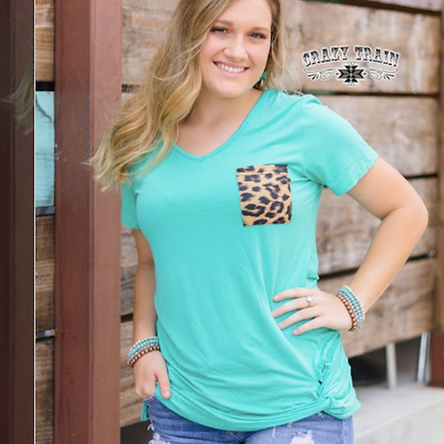 TURQUOISE TSHIRT WITH CHEETAH PRINT POCKET ACCENT