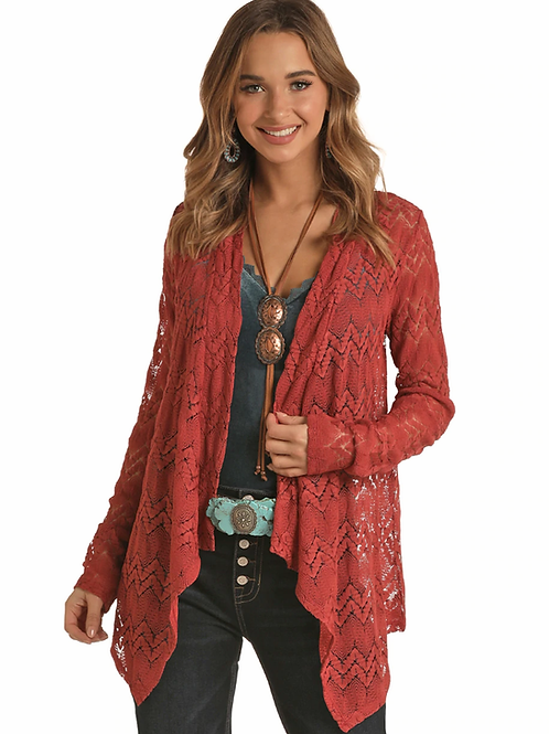 Rock & Roll Cowgirl Cranberry Lace Cardigan