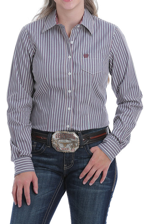 CINCH LADIES BLUE/ROSE STRIPE BUTTON WESTERN SHIRT