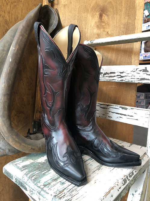 BOULET 9603 Ladies snip toe Palermo Black Cherry Cowboy Boot