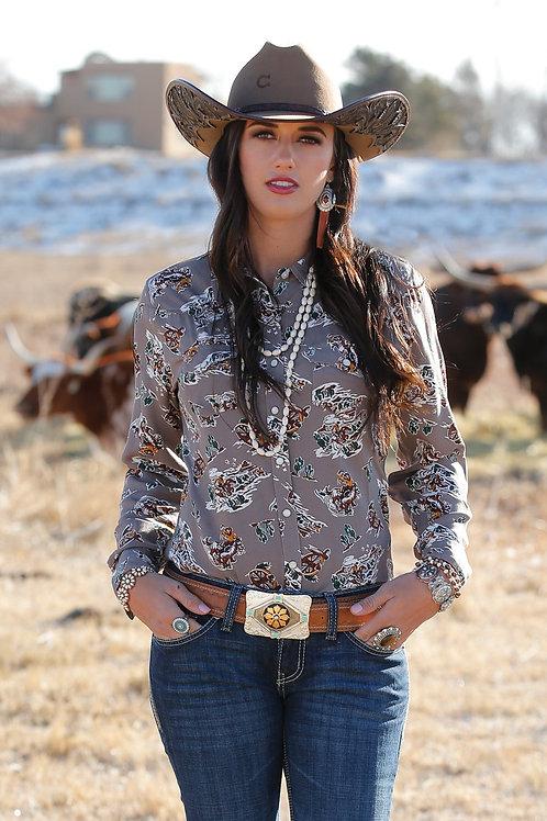 CRUEL GIRL LADIES GREY COWBOY PRINT SNAP SHIRT