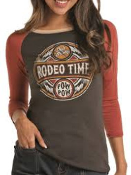 ROCK & ROLL COWGIRL RODEO TIME 3/4 LENGTH TEE
