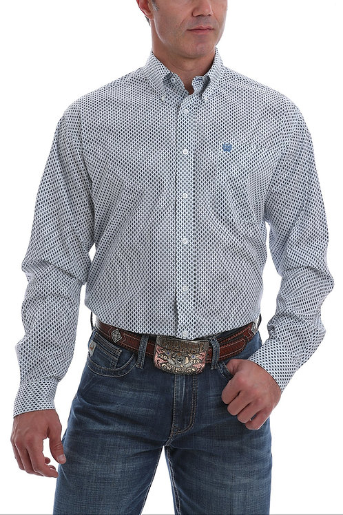 CINCH MEN'S LIGHT BLUE AND WHITE DIAMOND PRINT BUTTON DOWN