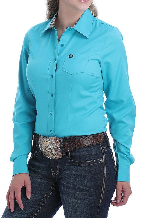 CINCH LADIES SOLID TEAL LONG SLEEVE SHIRT