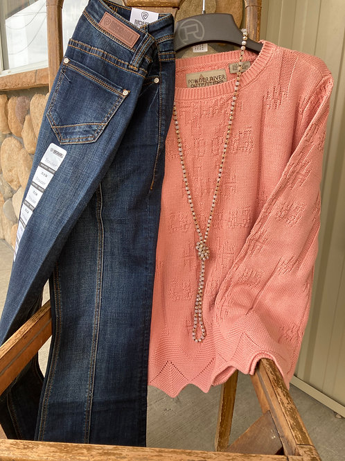 POWDER RIVER CORAL PULL OVER SWEATER