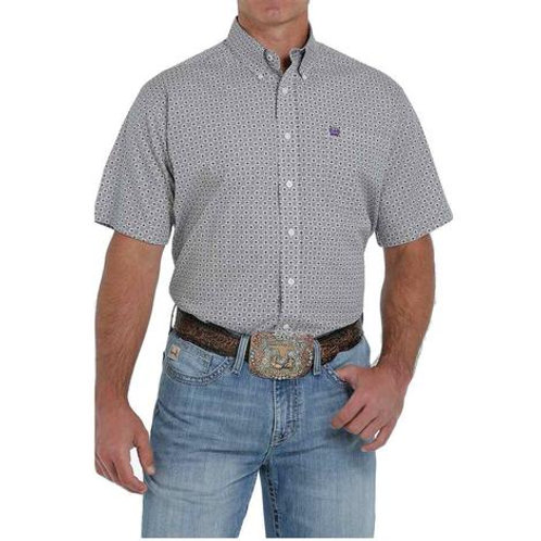 CINCH MENS WHITE PATTERN BUTTON UP SHORT SLEEVE