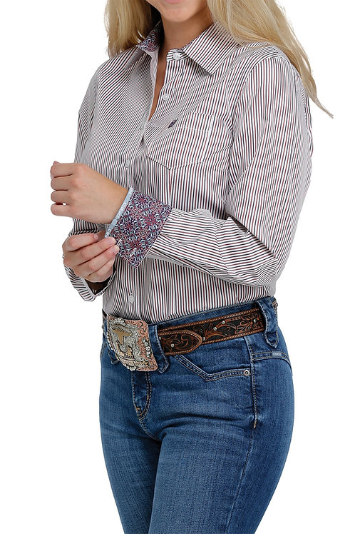 CINCH RED AND PURPLE LADIES BUTTON UP
