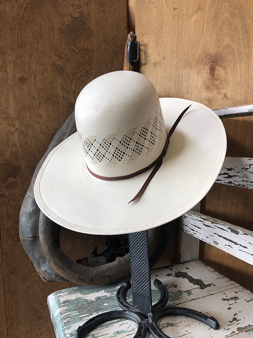 American Hat Straw - 6300 - Two Tone Fancy Vent - Ivory / Tan