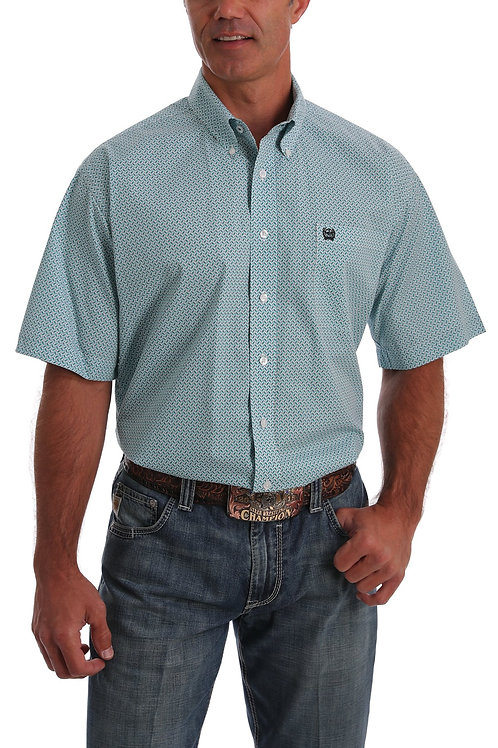 Cinch MEN'S SHORT SLEEVE TEAL PATTERN