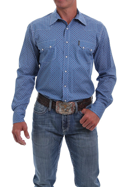 CINCH MODERN FIT NAVY, BLUE AND RED GEO PRINT SNAP SHIRT
