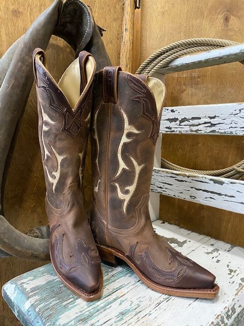 Boulet 9614 Womens Gerico Brown Desert Bone Snip Toe Cowgirl Boot
