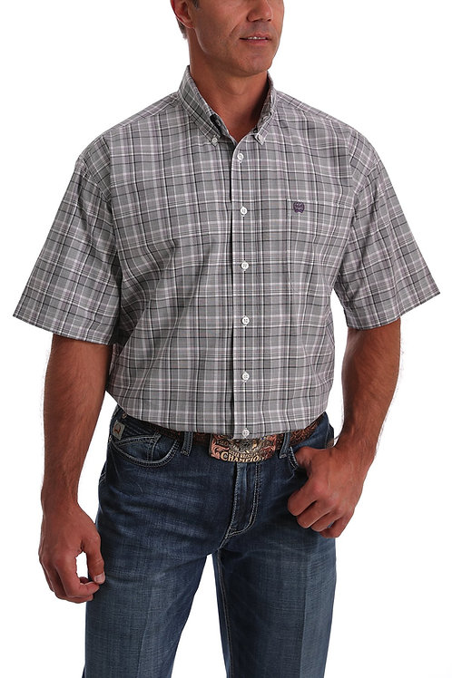 CINCH MENS SHORT SLEEVE GREY AND PURPLE BUTTON DOWN