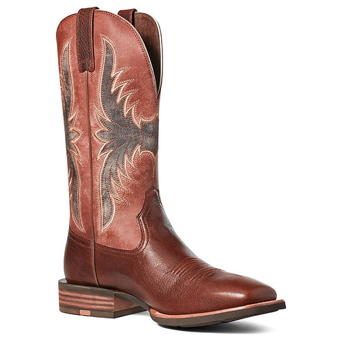ARIAT MENS CROSSWIRE HICKORY WOOD AND CAYENNE SPICE SQUARE TOE COWBOY BOOT