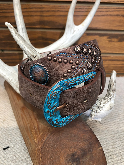 Turquoise Embroidered Leather Belt Angel Ranch DA6342