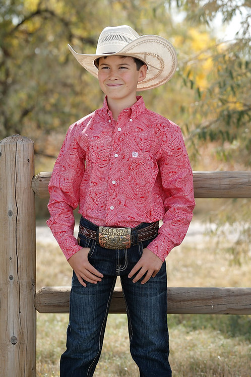 CINCH BOYS RED AND WHITE PAISLEY BUTTON DOWN
