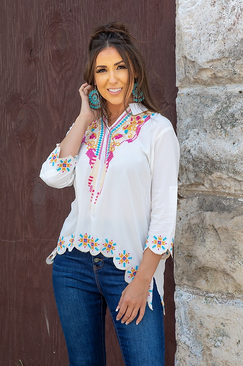 L&B IVORY EMBROIDERED TOP