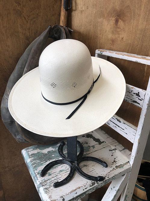 American Hat Co 7200 Fancy Vent Ivory Black 4-1/4in. Brim Straw Cowboy Hat