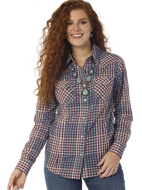 WRANGLER LADIES PLAID SNAP SHIRT