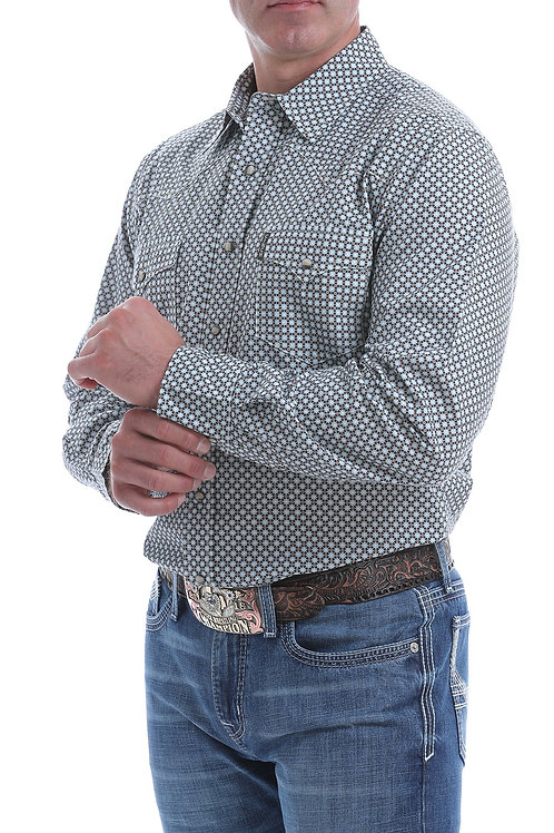 CINCH MENS CHARCOAL, COPPER AND BLUE MODERN FIT SNAP WESTERN SHIRT