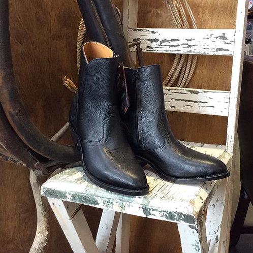 """Boulet Mens 1863 Black 7""""Zip Cowboy Boot Leather sole"""