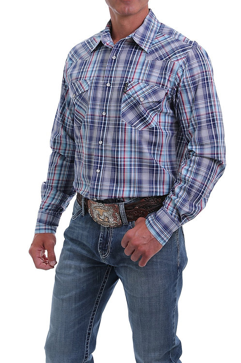 CINCH MENS MODERN FIT NAVY, BLUE AND RED PLAI SNAP SHIRT